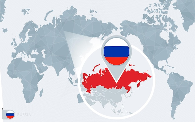Pacific centered world map with magnified russia. flag and map of russia.