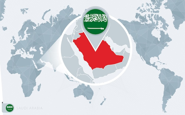 Pacific centered world map with magnified saudi arabia. flag and map of saudi arabia.