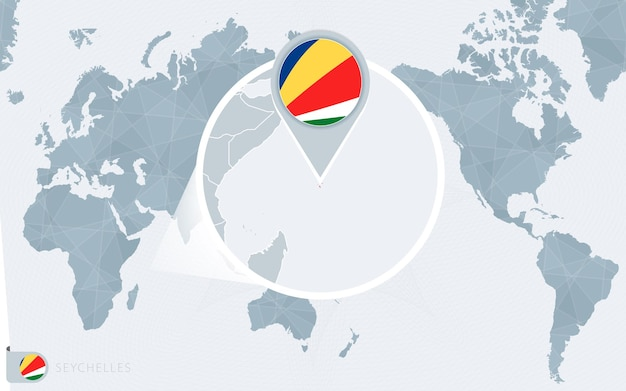 확대된 세이셸이 있는 태평양 중심 세계 지도. 세이셸의 국기와 지도.