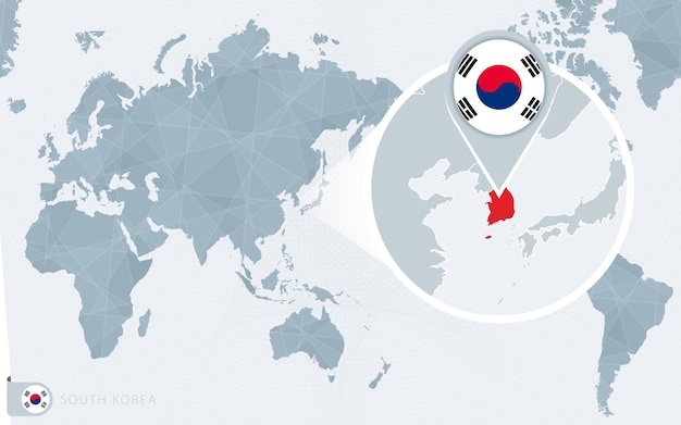 Pacific centered world map with magnified south korea. flag and map of south korea.