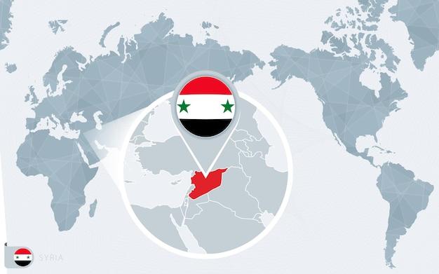 확대된 시리아가 있는 태평양 중심 세계 지도. 시리아의 국기와 지도.