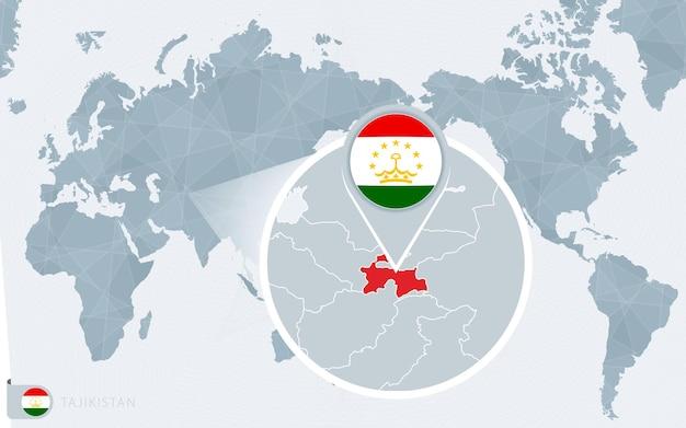Карта мира в центре тихого океана с увеличенным таджикистаном. флаг и карта таджикистана.