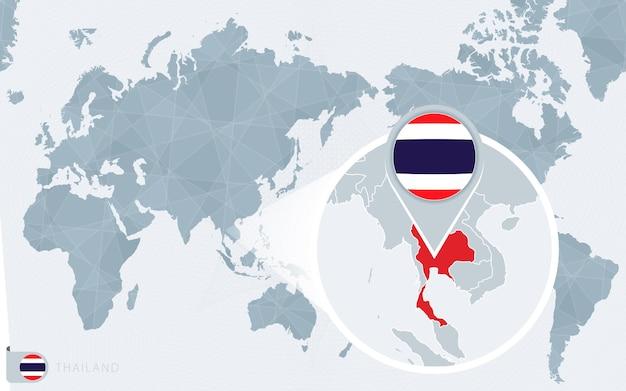 확대된 태국이 있는 태평양 중심의 세계 지도입니다. 태국의 국기와 지도입니다.