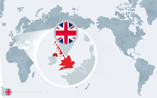 Pacific centered world map with magnified united kingdom flag and map of united kingdom Premium Vector