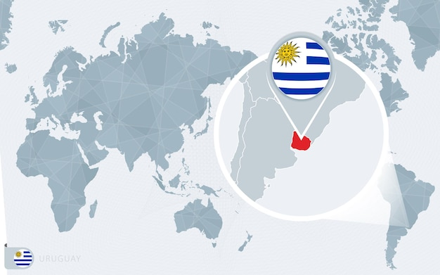 Pacific centered world map with magnified uruguay. flag and map of uruguay.