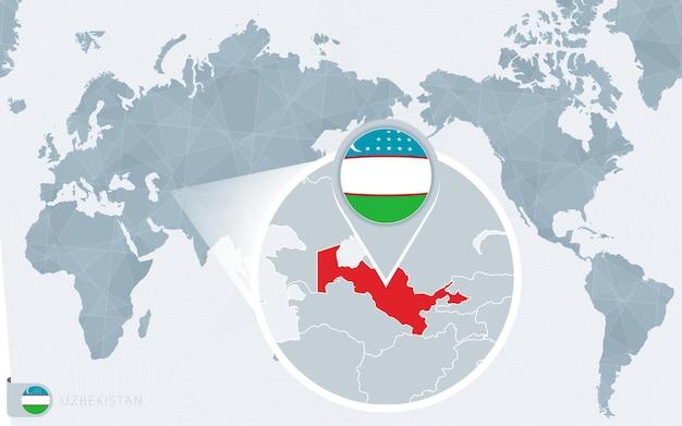 확대된 우즈베키스탄이 있는 태평양 중심 세계 지도. 우즈베키스탄의 국기와 지도.