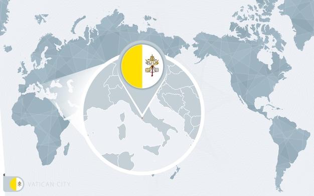 확대된 바티칸 시국이 있는 태평양 중심 세계 지도. 바티칸 시국의 국기와 지도.