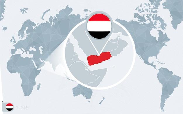 Карта мира в центре тихого океана с увеличенным йеменом. флаг и карта йемена.