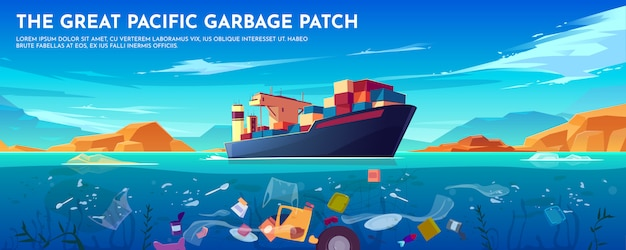 Pacific ocean plastic garbage patch banner with container ship and trash floating underwater surface.