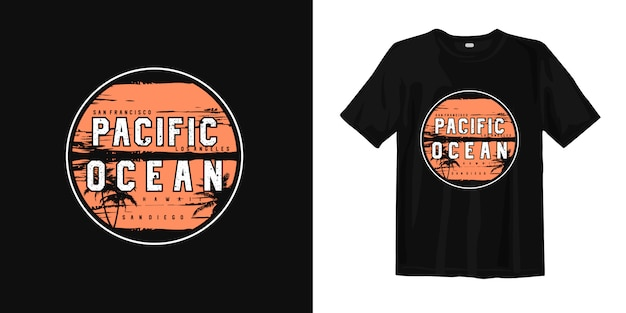 Pacific ocean summer beachグラフィックtシャツ