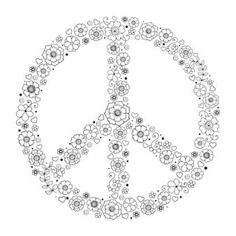 Тихий океан. символ мира сделан из цветов. стиль хиппи ретро знак любви, мира и пацифизма в руке рисовать каракули стиль.