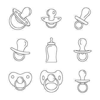 Pacifier baby care child icons set