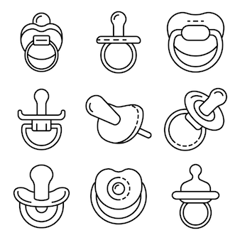 Pacifier icons set. outline set of pacifier vector icons