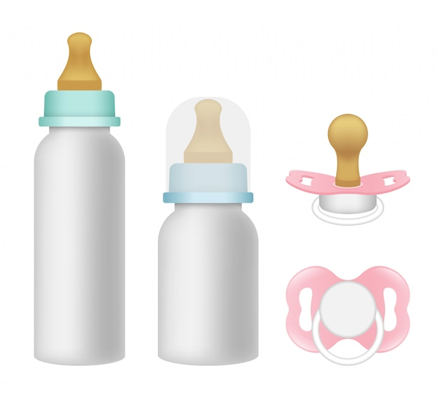 Pacifier icons set, realistic style