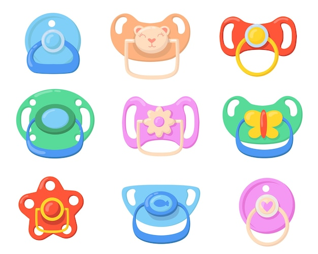 Pacifiers icon for babies set. colorful plastic soothers for little children with butterfly, bear, flower shaped handles. vector illustrations for childhood, parenthood, baby care concept