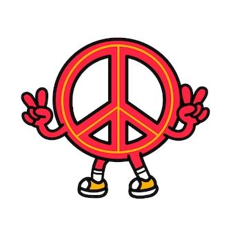 Знак пацифизма показывает жест мира. вектор рисованной каракули 90-х годов стиль мультипликационный персонаж иллюстрации. изолированные на белом фоне. забавный знак мира, пацифист, пацифизм, концепция логотипа талисмана мультфильма хиппи