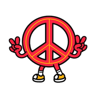 Pacifism sign show peace gesture. vector hand drawn doodle 90s style cartoon character illustration. isolated on white background. funny peace sign,pacifist,pacifism,hippie cartoon mascot logo concept