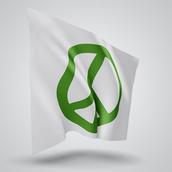 Pacifism, vector 3d flag isolated on white background