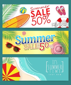 Pack of 3 template banner for summer sale discount promotion