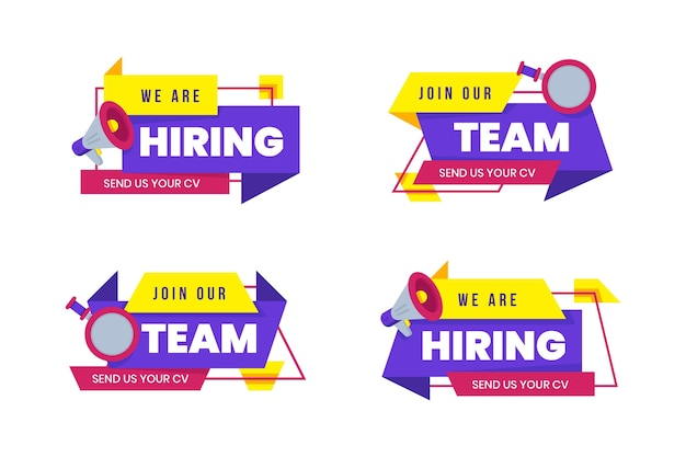 Pack of abstract hiring banners