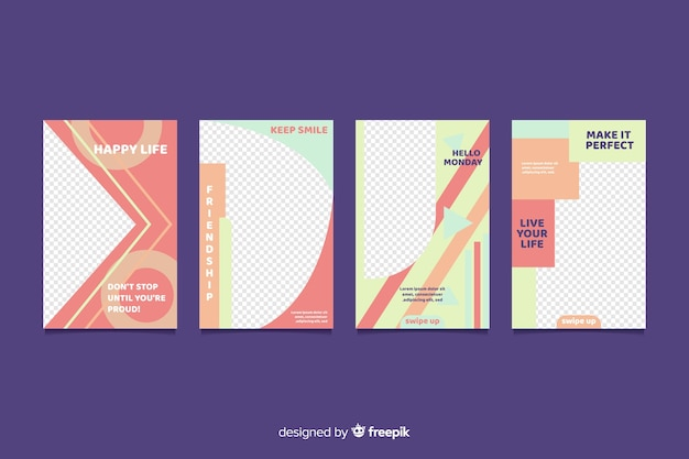 Pack of abstract instagram stories template