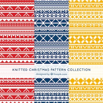 Pack of abstract knitted christmas patterns