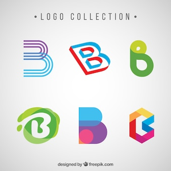 Pack of abstract logos of letter