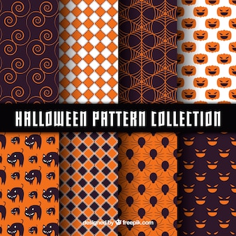 Pack of abstract patterns with halloween elements