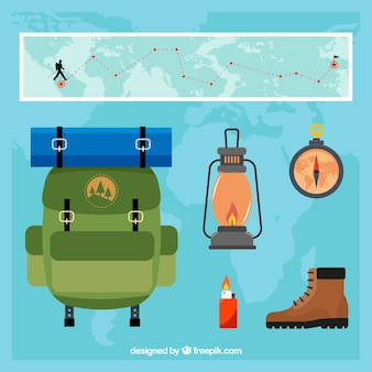 Pack of adventure travel items