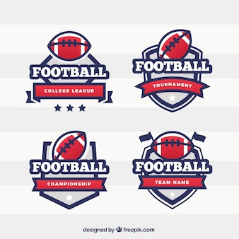Pack of american football shield badges Free Vector