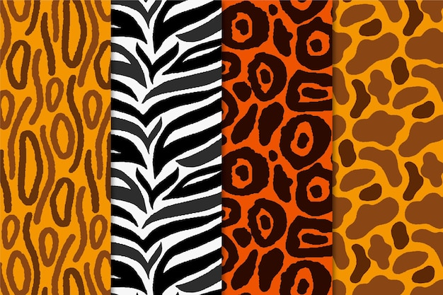 Pack of animal print seamless pattern
