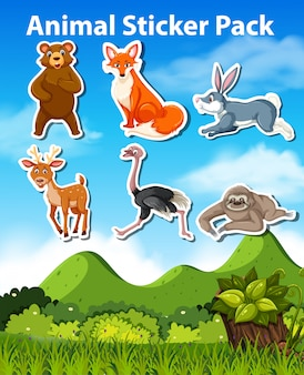 A pack of animal sticker