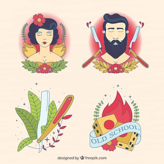 Pack of artistic illustrated tattoos