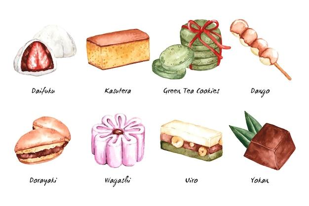 Confezione di dolci della gastronomia asiatica