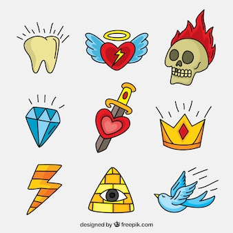 Pack of assorted hand-drawn tattoos