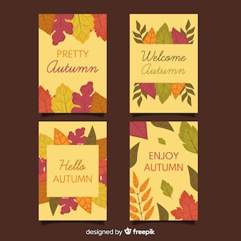 Confezione di cartoline autunnali design piatto