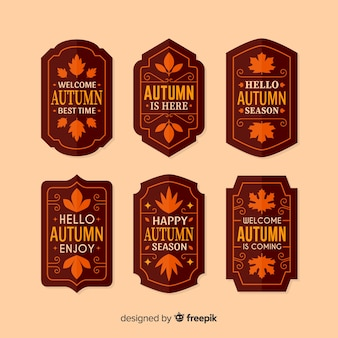 Pack of autumn labels flat design