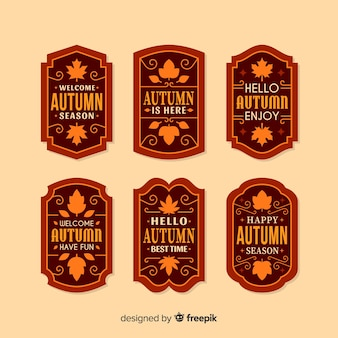 Pack of autumn labels flat style