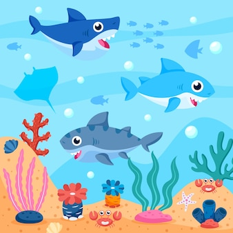 Pack of baby sharks in the ocean illustrated