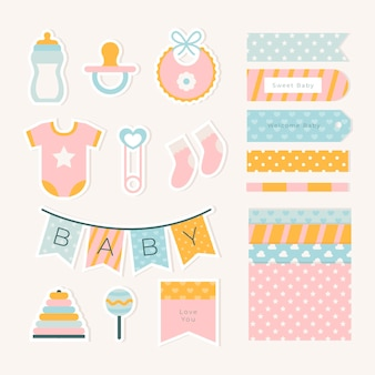 Pack of baby shower scrapbook elements