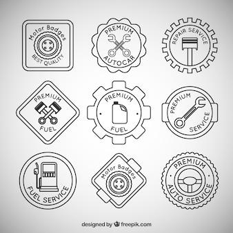 Confezione di distintivi relativi alla meccanica e distributore di benzina