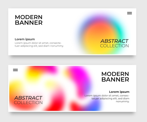 Pack of banners with gradient