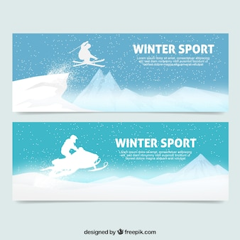 Pack of banners with great winter sports