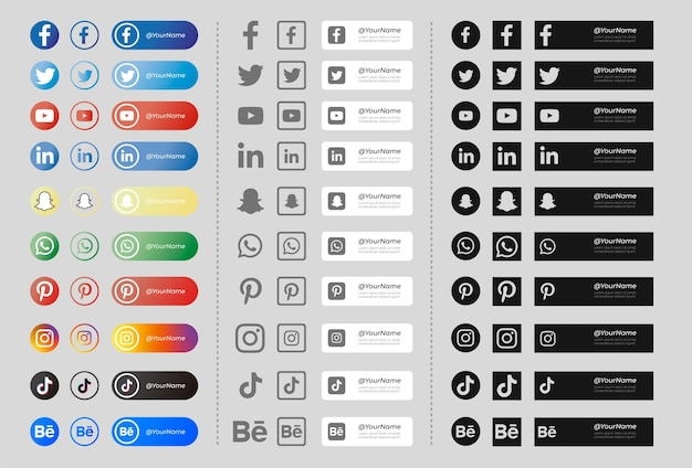 Pack of banners with social media icons black and white