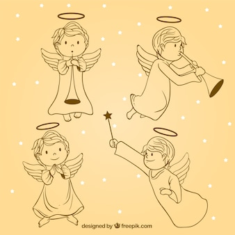 Pack of beautiful christmas angels sketches