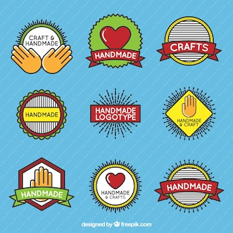 Pack of beautiful craft logos in vintage style