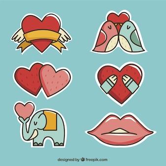 Confezione da bellissimi adesivi amore