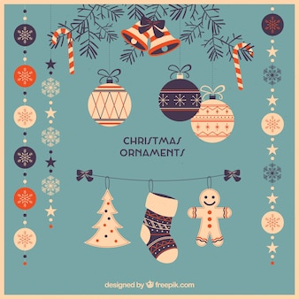 Pack of beautiful retro christmas ornaments in flat design