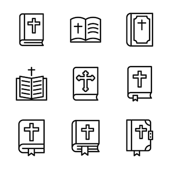 Pack of bible line icon