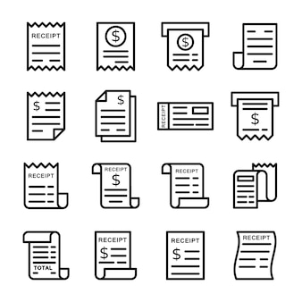 Pack of billing receipt icons